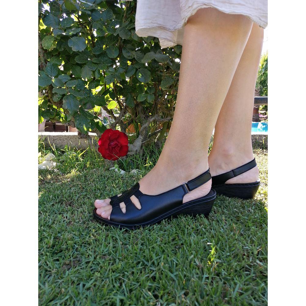 MOSSA SİYAH  Hakiki Deri Comfort Sandalet