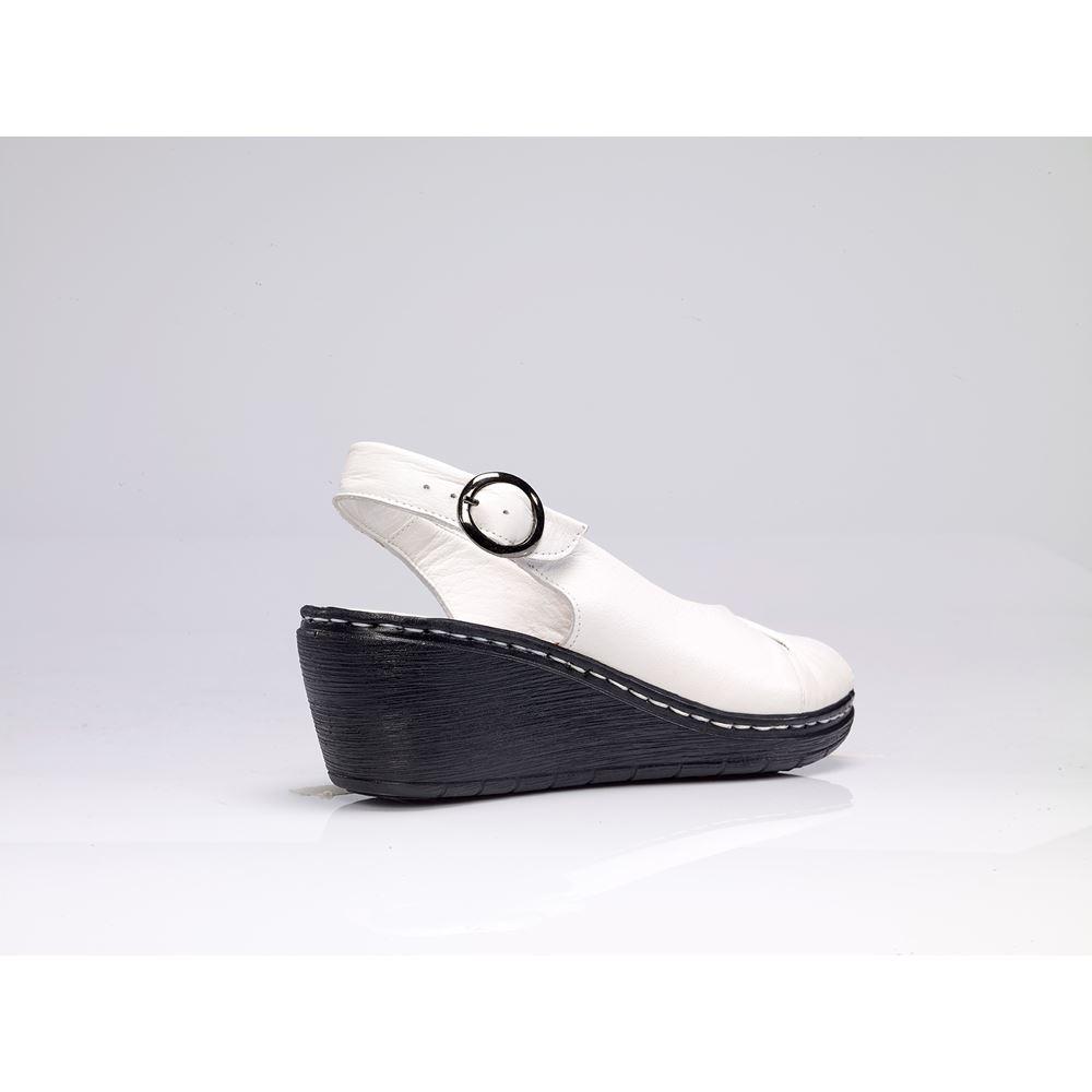 METSI WHITE  Hakiki Deri Sandalet