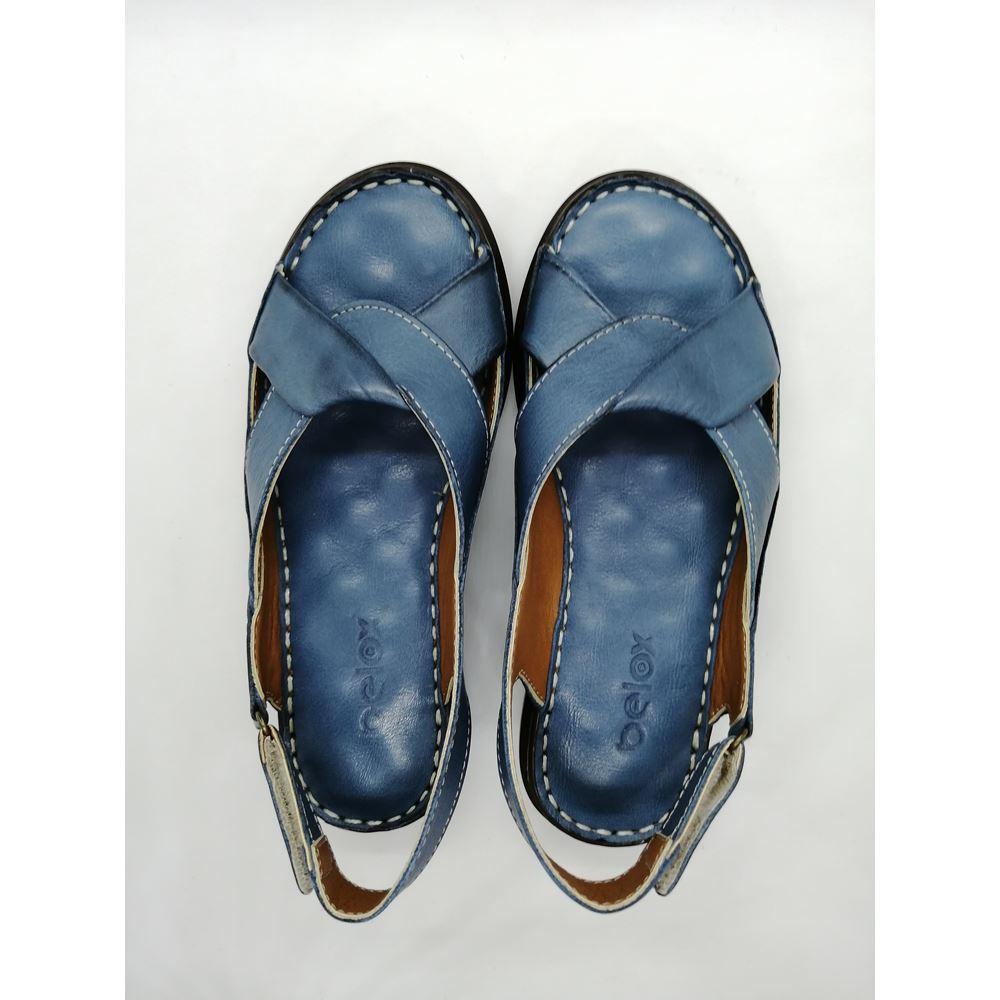 204 KOT MAVİ Hakiki Deri Ortopedik Masaj Tabanlı Sandalet