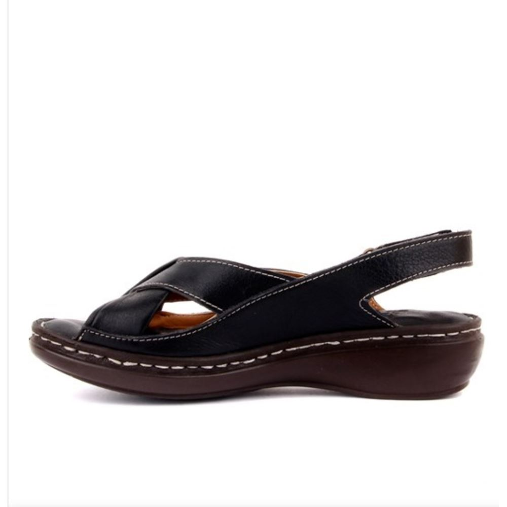 204 SİYAH Hakiki Deri Ortopedik Masaj Tabanlı Sandalet